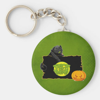 Halloween trick or treat basic round button key ring