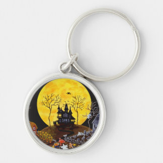 Halloween trick or treat key ring Silver-Colored round key ring
