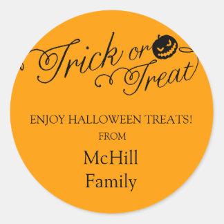 Halloween Trick or Treat Label Round Stickers
