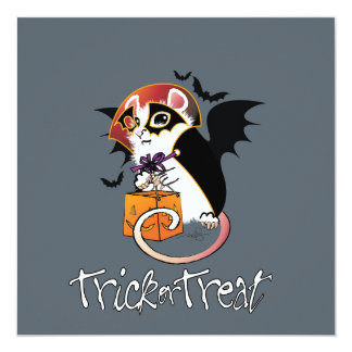 Halloween Trick Or Treat Mouse Greeting 13 Cm X 13 Cm Square Invitation Card