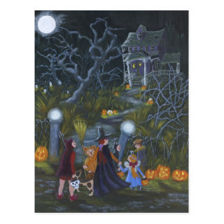 Halloween trick-or-treat postcard