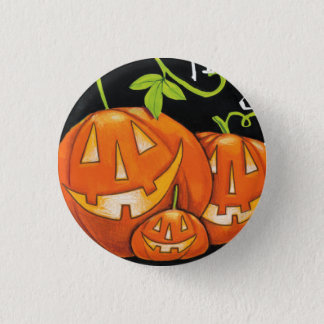 Halloween Trick or Treat Pumpkin and Candy Corn 3 Cm Round Badge