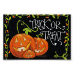 Halloween Trick or Treat Pumpkin and Candy Corn Print