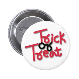 Halloween Trick or Treat Red & Black Pin