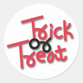 Halloween Trick or Treat Red & Black Round Sticker