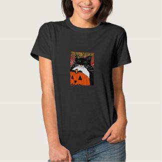halloween tshirt cute black cat on jackolantern