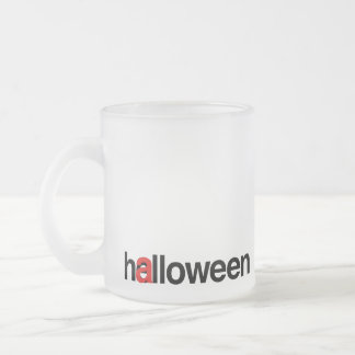 Halloween typo mistake frosted glass mug