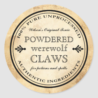 Halloween vintage apothecary werewolf claws label
