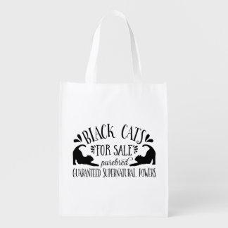 Halloween Vintage Black Cat Reusable Grocery Bag