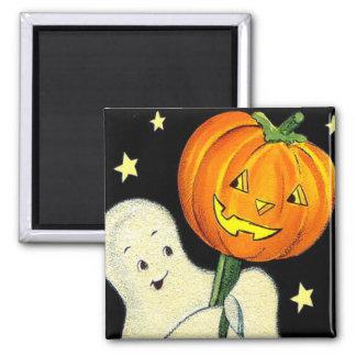 Halloween Vintage Ghost and Pumpkin Magnet