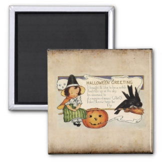 HALLOWEEN VINTAGE GREETING SQUARE MAGNET
