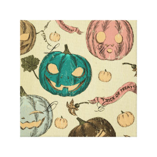 Halloween,vintage,pattern,pumking,cute,scary,fun,t Stretched Canvas Print