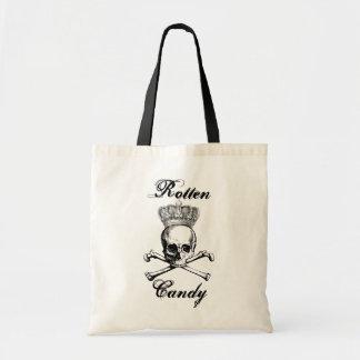 Halloween vintage skull & crossbones candy treat budget tote bag