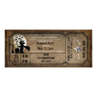 Halloween Vintage Witch Spooky Ticket Invitation