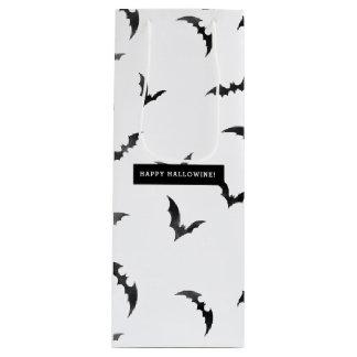 Halloween Watercolor Bats Happy Hallowine Wine Gift Bag
