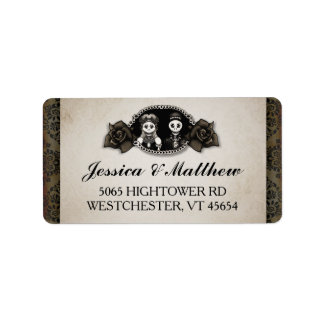 Halloween Wedding Antique Skeletons Cameo Roses Label