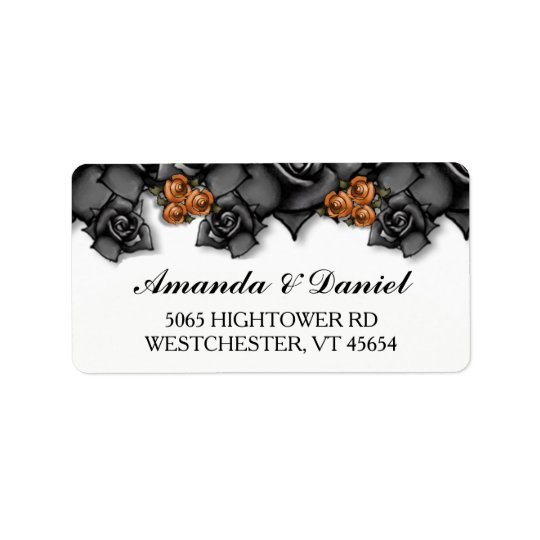 Halloween Wedding Black Orange Roses Address Label