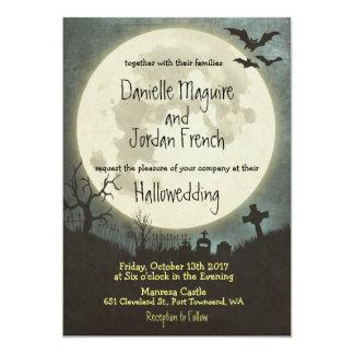 Halloween wedding invitation with moon, cemetery