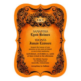 Halloween Wedding Invite - Orange & Black Border