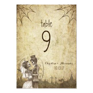 Halloween Wedding Table number Skeleton Couple Card