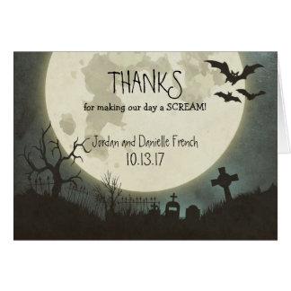 Halloween wedding Thank You card with moon