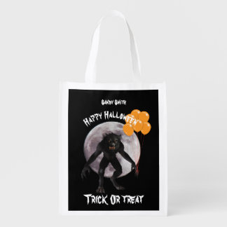 Halloween Werewolf With Balloons Reusable Grocery Bag