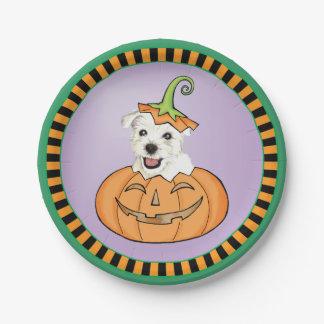 Halloween Westie Paper Plate