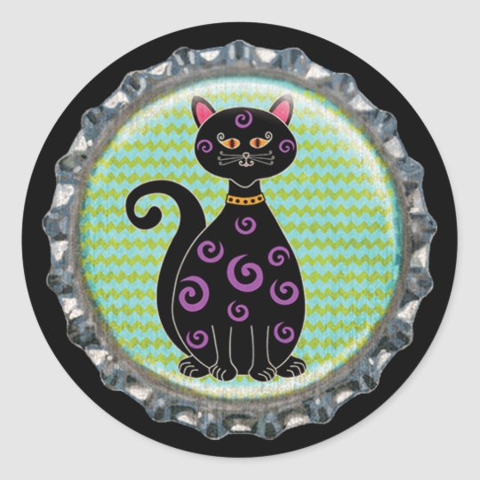 Halloween Whimsical Cat Bottle Cap Classic Round Sticker