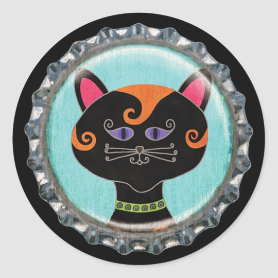 Halloween Whimsical Cat Face Bottle Cap Classic Round Sticker