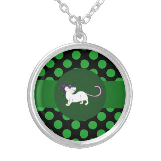 Halloween White Mouse with Witch Hat & Polka Dots Round Pendant Necklace