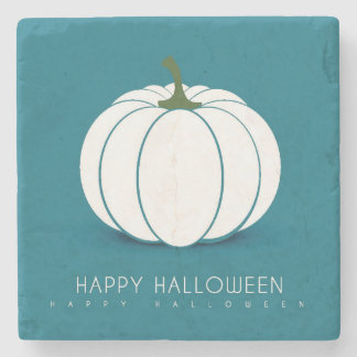 Halloween White Pumpkin Design Illustration Stone Beverage Coaster