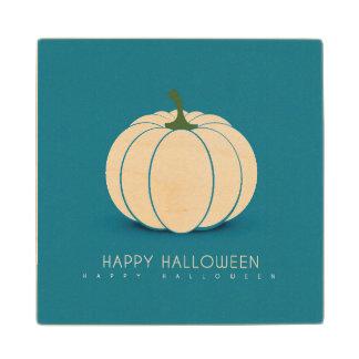 Halloween White Pumpkin Design Illustration Wood Coaster