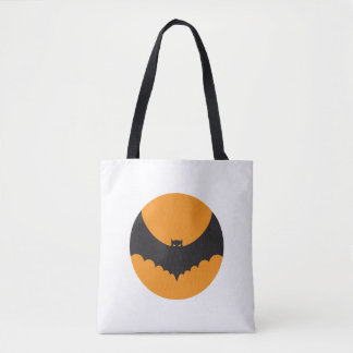 Halloween White tote bag with demon bat in orange