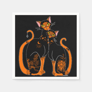 Halloween Willow Pattern Cats Disposable Serviettes