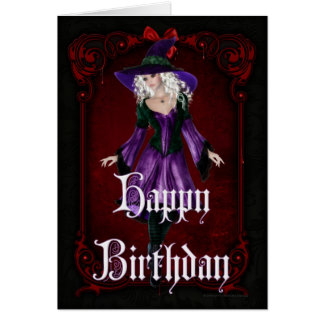 Halloween Witch 5 October Happy Birthday Card