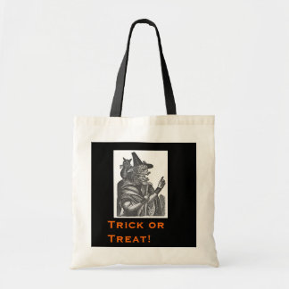 Halloween Witch and Black Cat Budget Tote Bag