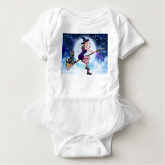 Halloween Witch and Cat Flying Moon Scene Baby Bodysuit