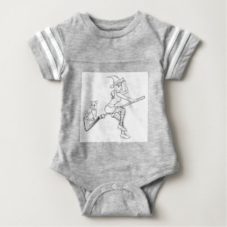 Halloween Witch and Cat Flying on Broomstick Baby Bodysuit