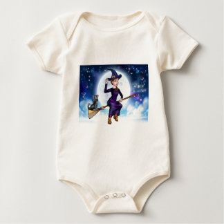 Halloween Witch and Cat on Broomstick Baby Bodysuit