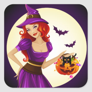 Halloween Witch and Cat Square Sticker