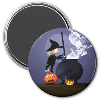 Halloween Witch and Cauldron 7.5 Cm Round Magnet