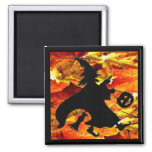 Halloween Witch and Fall Leaves Square Magnet