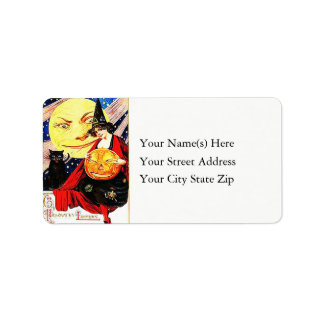 Halloween Witch and Friends Vintage Address Label