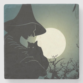 Halloween: witch and hounted house stone beverage coaster