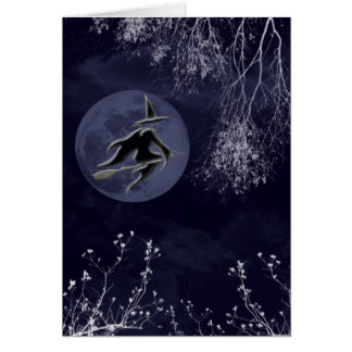 Halloween Witch and Moon Greeting Card