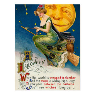 Halloween witch and moon Vintage Holiday postcard