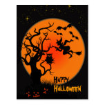 Halloween Witch And Owl Halloween Postcard