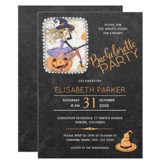 Halloween witch and pumpkin bachelorette party card