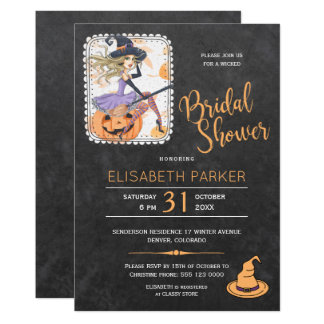 Halloween witch and pumpkin bridal shower party card