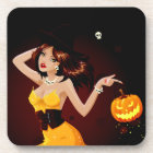Halloween Witch and Pumpkin Coaster